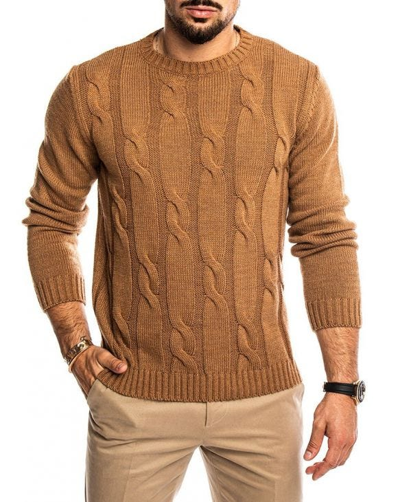 QUILO CREWNECK SWEATER IN CAMEL