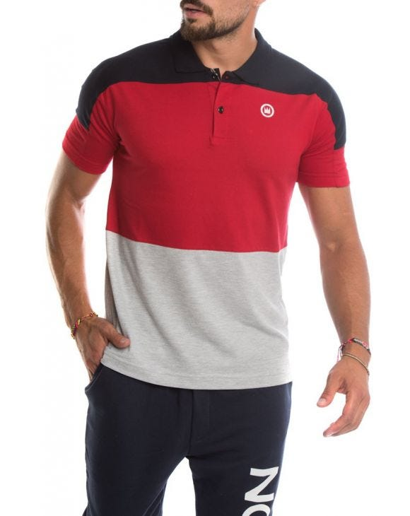EDWARD COTTON POLO IN BLACK, RED AND GREY