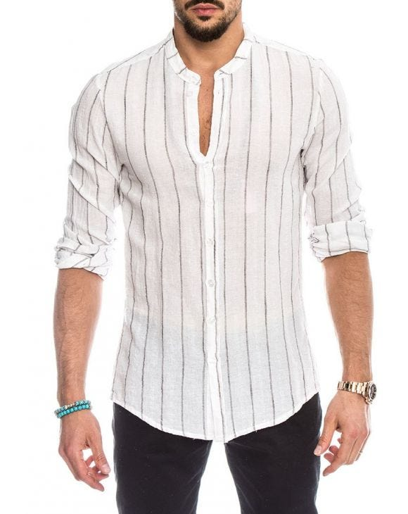 KOREAN SHIRT IN STRIPED GREY