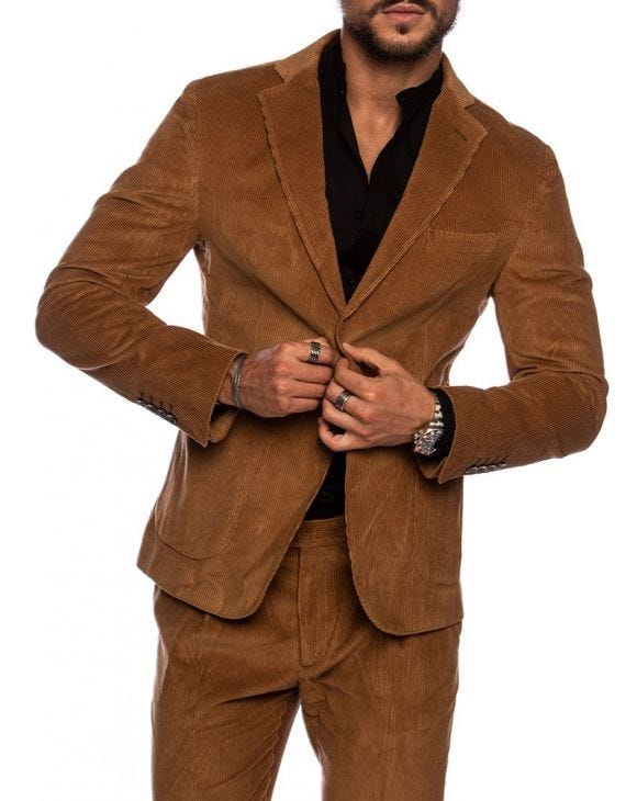 BARAN SINGLE BREASTED BLAZER IN CARAMEL