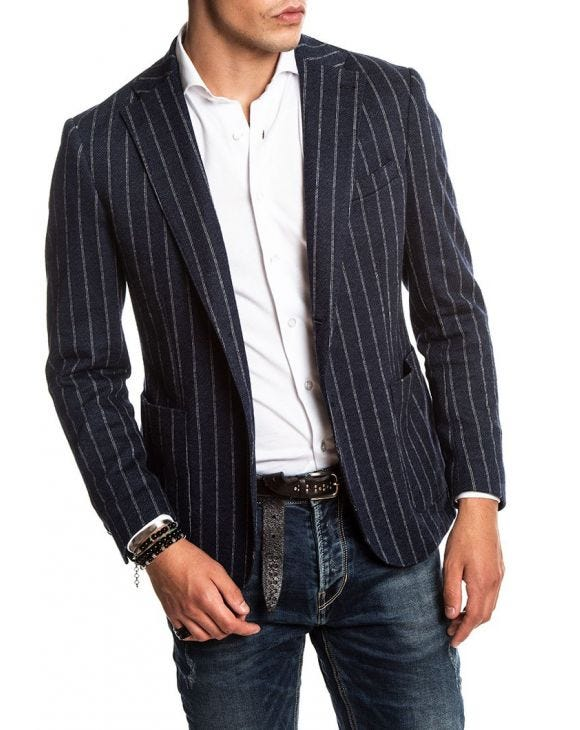GILER STRIPED BLAZER IN BLUE AND GREY