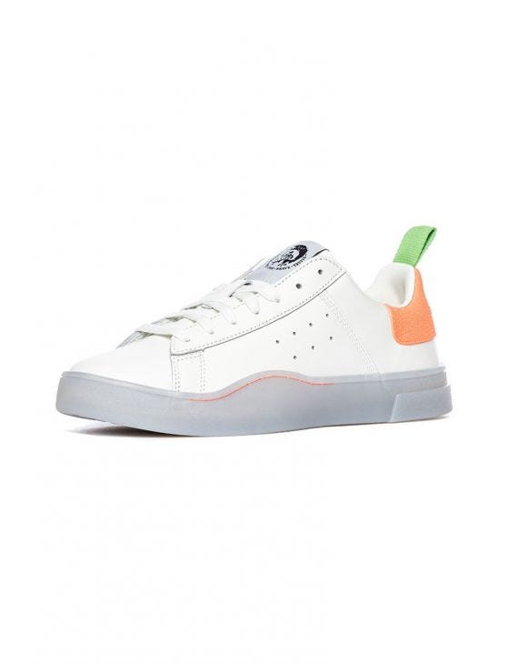 S-CLEVER LOW SNEAKER IN WHITE AND ORANGE
