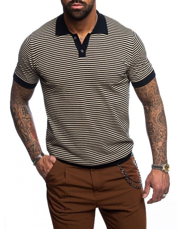 BLUE BEIGE STRIPED POLO