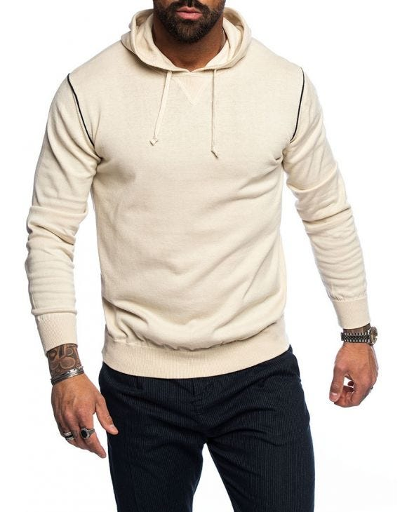 MALABO COTTON SWEATER WITH HOOD IN BEIGE