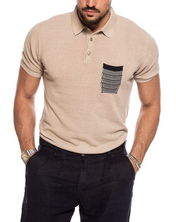 KORVAL POCKET POLO IN BEIGE