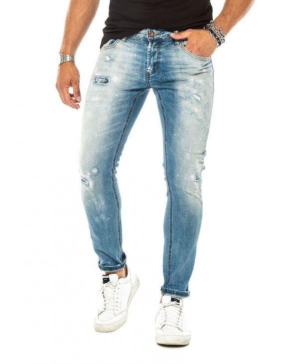 MERFIN DISTRESSED JEANS IN BLUE
