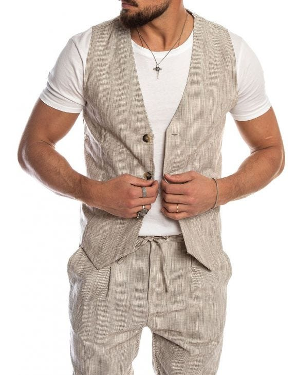 MAY LINEN VEST IN STRIPED DOVE