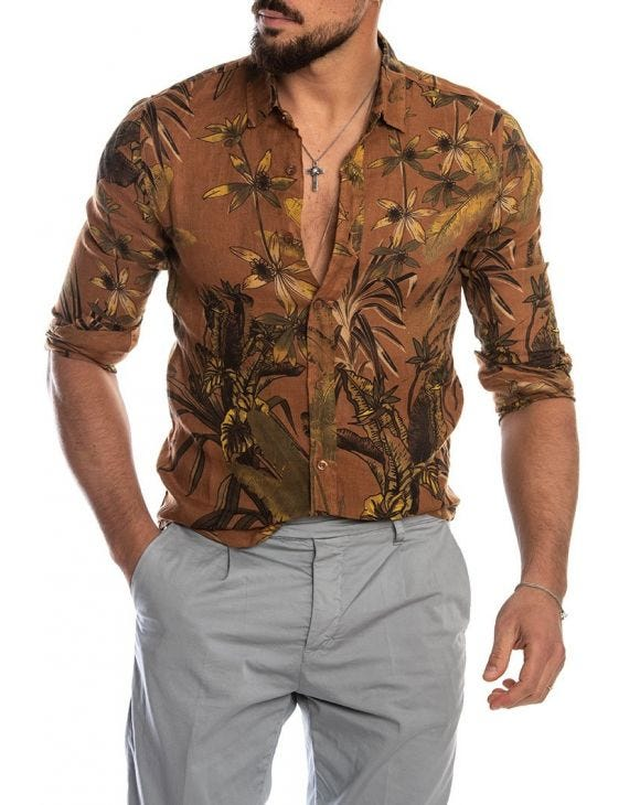 FLORAL SHIRT IN RUST