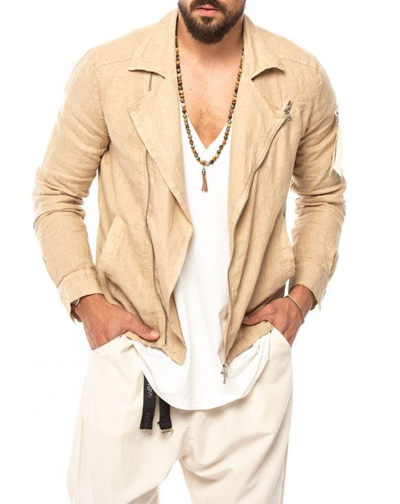 JUZO LINEN JACKET IN BEIGE