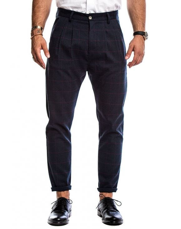 ARTHUR GLEN PLAID TROUSERS IN BLUE