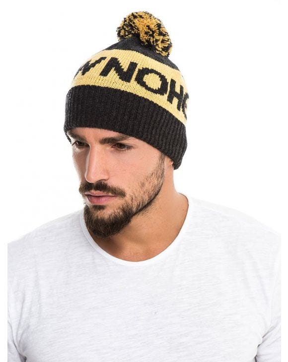 NOHOW BOBBLE BEANIE IN YELLOW AND BLACK