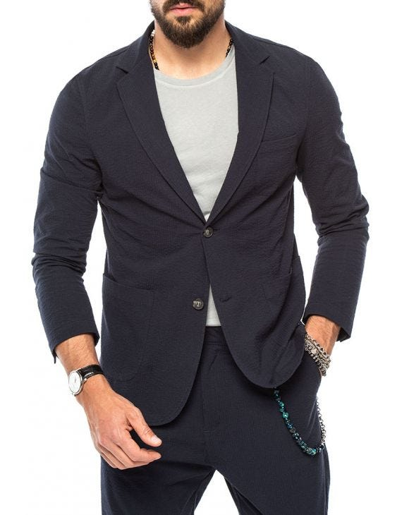 DUBAI SINGLE BREASTED BLAZER IN BLUE