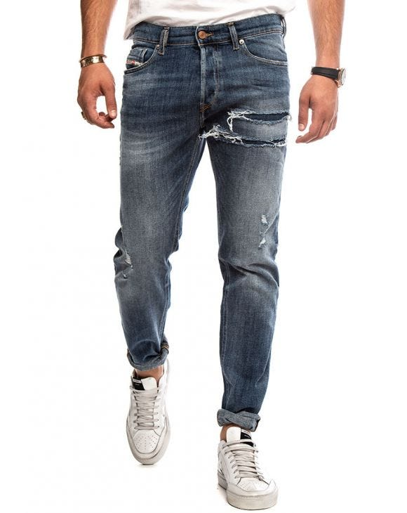TEPPHAR-X L.32 DISTRESSED JEANS IN DARK BLUE