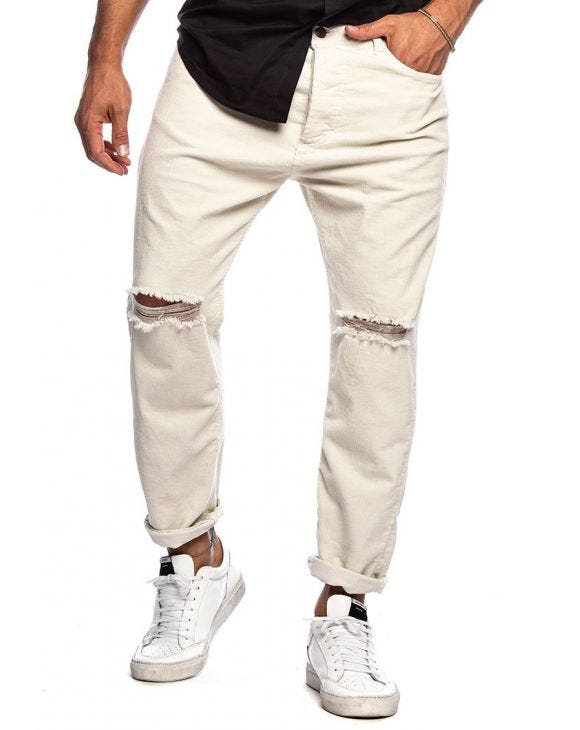HARRIS DISTRESSED PANTS IN VELVET WHITE