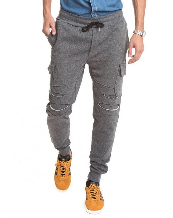 DOUBLE POCKET DISTRESSED PANTS IN GREY