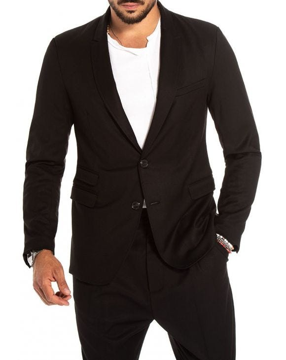 CADE SINGLE BREASTED BLAZER IN BLACK