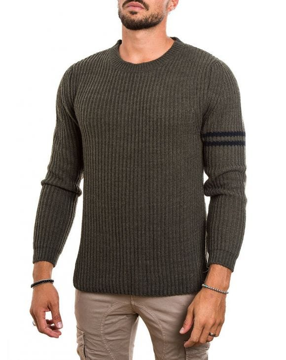 RIBBED SWEATER IN MILITARY GREEN