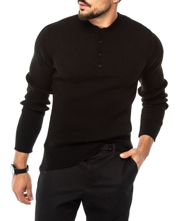 ADAM HENLEY SWEATER IN BLACK