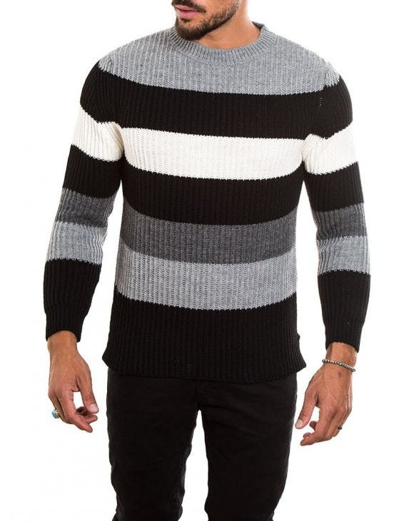 COLOR BLOCK RIBBED SWEATER IN GREY, BLACK AND WHITE