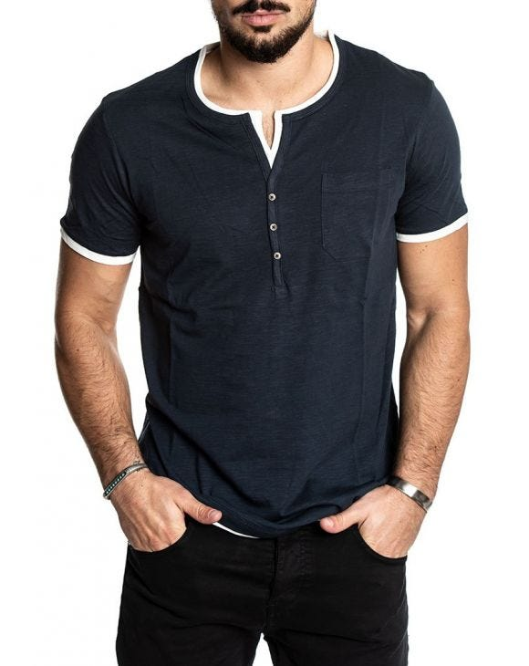 CASUAL HENLEY T-SHIRT IN NIGHT BLUE