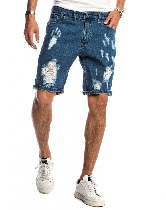 KAUI RIPPED SHORTS IN DARK BLUE