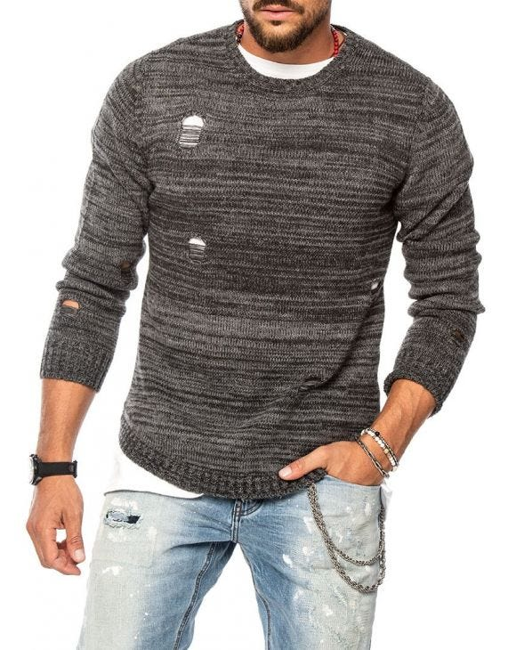PATRIC DISTRESSED SWEATER IN GREY