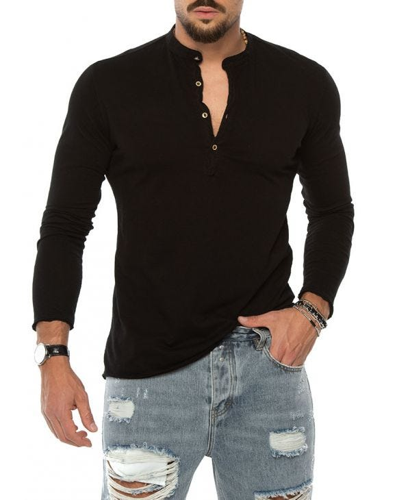 JEM HENLEY T-SHIRT IN BLACK