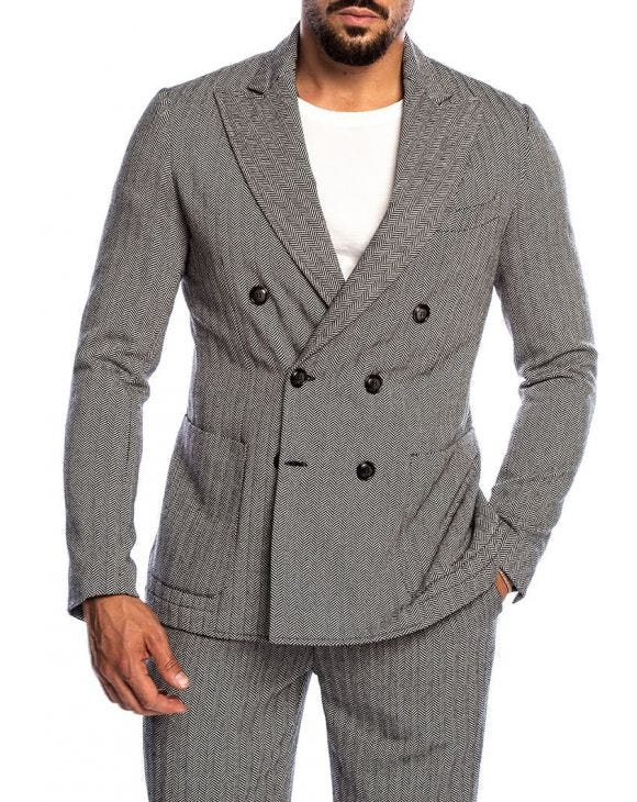 CONNOR DOUBLE BREASTED BLAZER IN HERRINGBONE