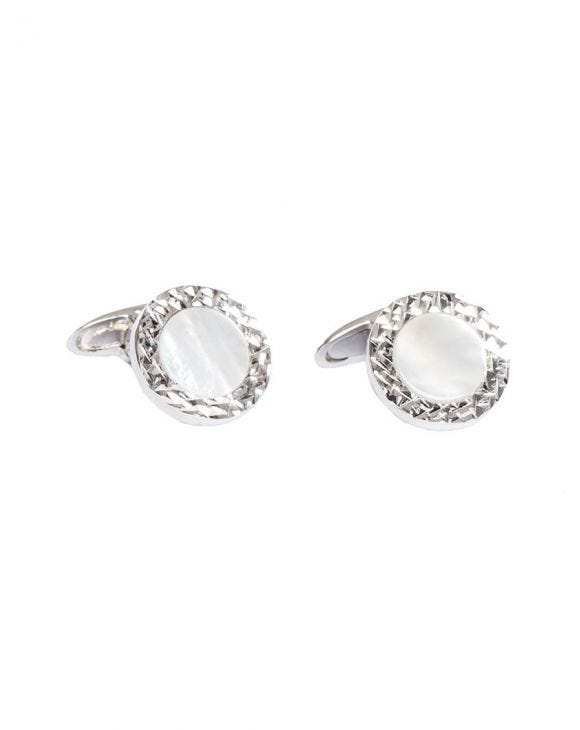 ROUND MOTHER OF PEARL SILVER CUFFLINKS