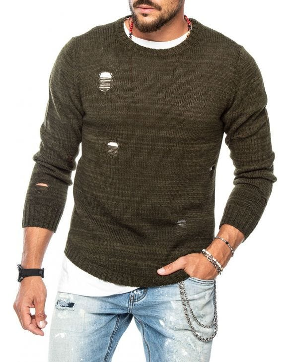 PATRIC DISTRESSED SWEATER IN GREEN