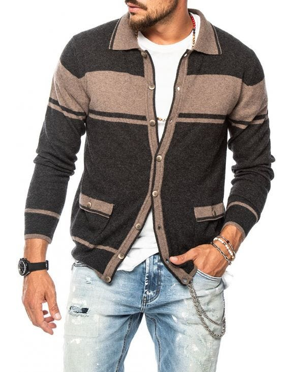 TONAL CARDIGAN A RIGHE ANTRACITE