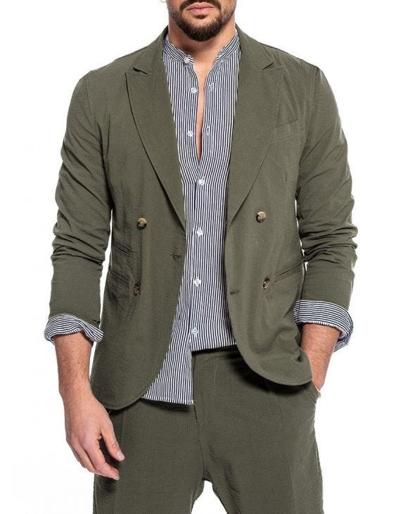 DUBAI SEERSUCKER DOUBLE BREASTED BLAZER IN GREEN
