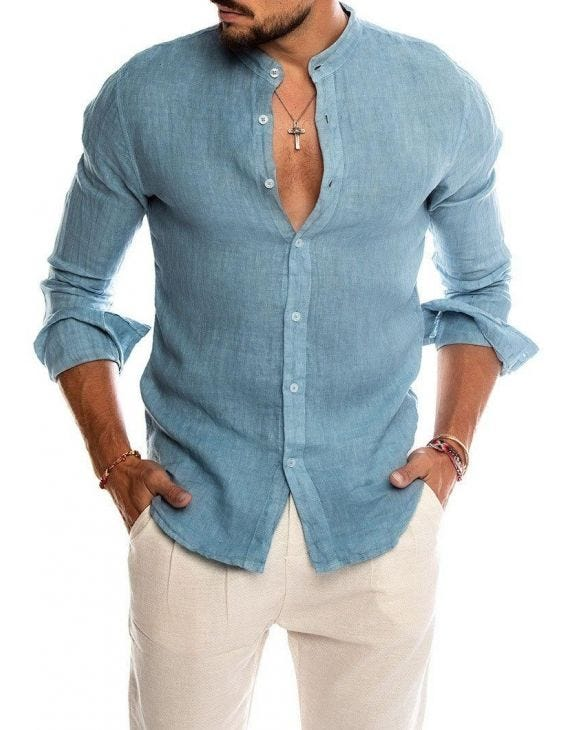 OTIS KOREAN SHIRT IN LIGHT BLUE