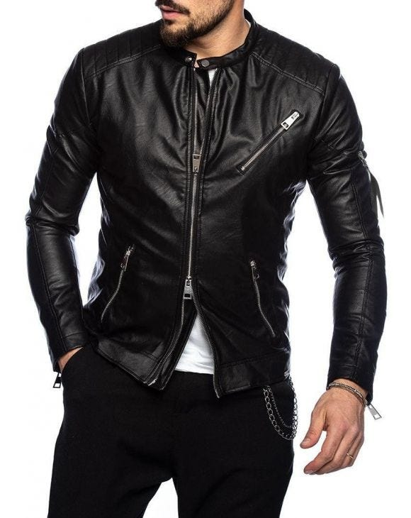 ELIOTT ECO LEATHER JACKET IN BLACK
