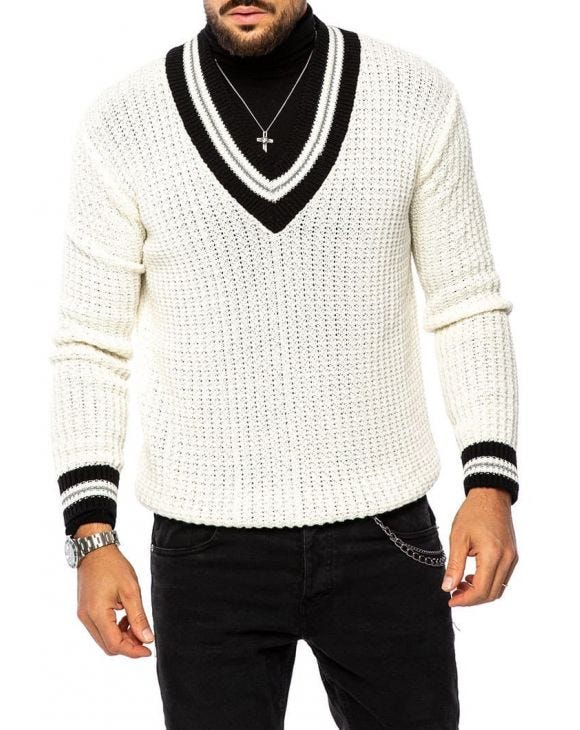 RENE V-NECK SWEATER IN WHITE AND BLACK
