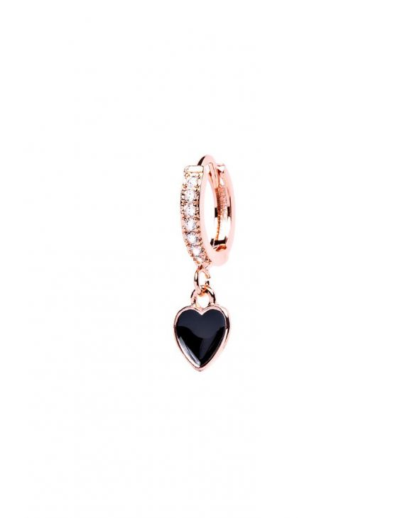 REBECCA EARRING IN ROSE GOLD WITH POLISH HEART PENDANT
