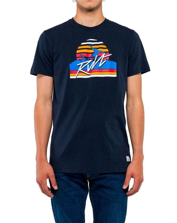 PRINTED T-SHIRT IN BLUE NAVY