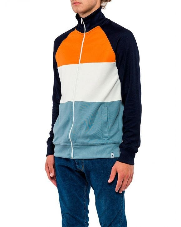 TRACK JACKET IN ORANGE AND LIGHT BLUE