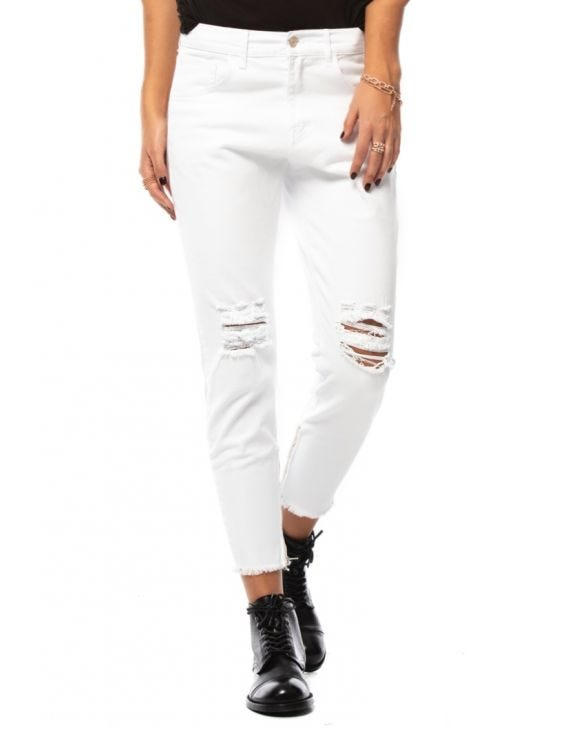 WMN WHITE RIPPED JEANS
