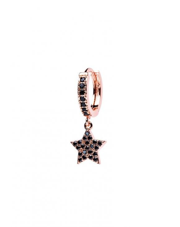 VENUS EARRING IN ROSE GOLD WITH STAR PENDANT AND BLACK ZIRCONS