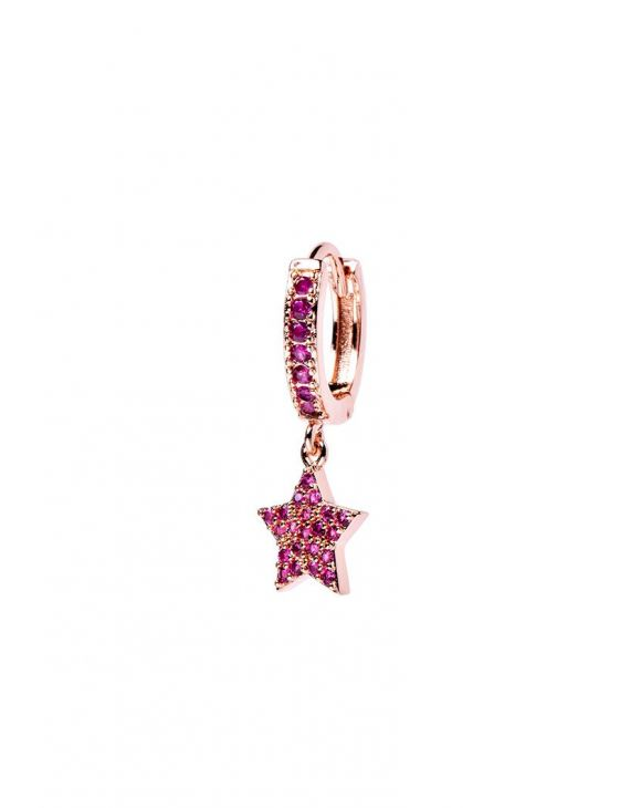 VENUS EARRING IN ROSE GOLD WITH STAR PENDANT AND PINK ZIRCONS