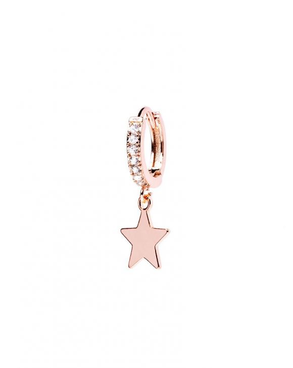 VENUS EARRING IN ROSE GOLD WITH STAR PENDANT AND WHITE ZIRCONS