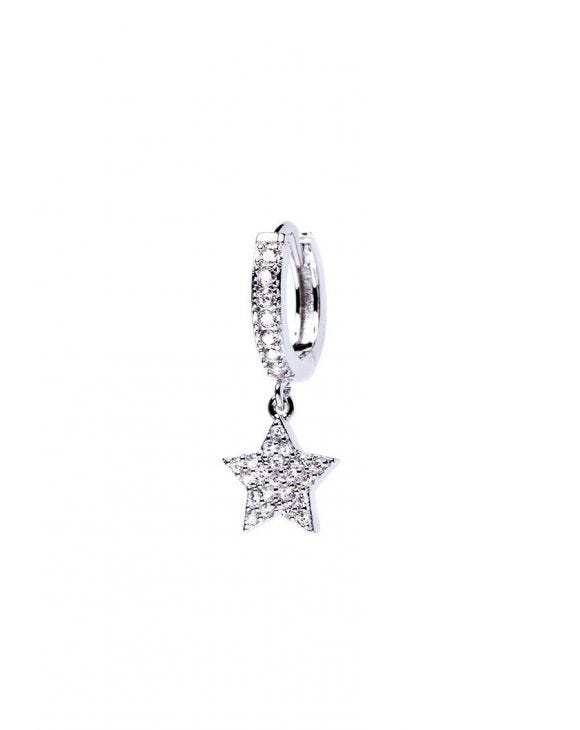 VENUS EARRING IN SILVER WITH STAR PENDANT AND ZIRCONS
