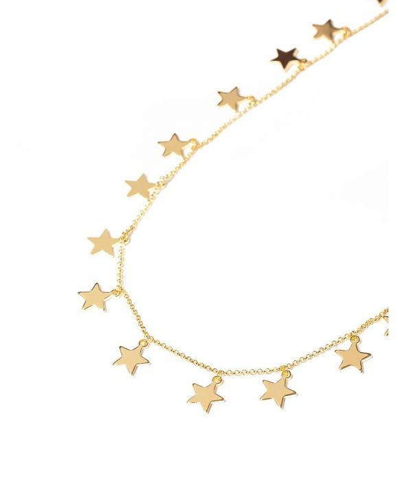 VICTORIA NECKLACE IN GOLD WITH STARS CHARMS